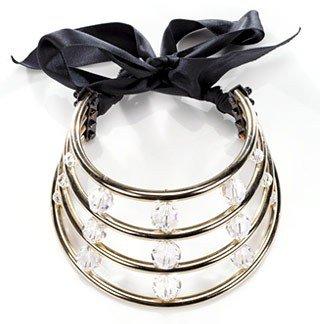 Lanvin. Four-strand Metal Cage Crystal Necklace on Satin Sash