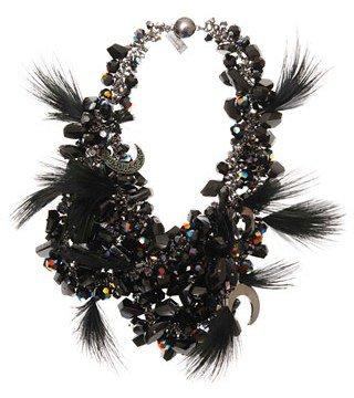 Miu Miu. Metal Necklace with Crystal and Metal Detail
