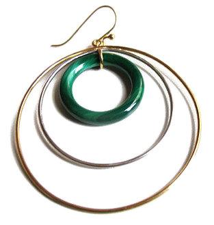 Taher Chemirik. 18K Gold Jadeite and Ebony Earring