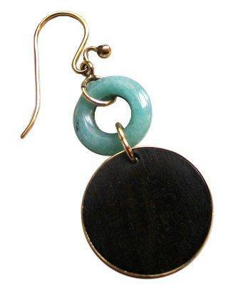 Taher Chemirik. 18K Gold Malachite and Lapis Lazuli Earring