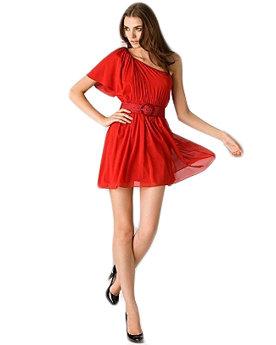 Alice + Olivia Red Belted off-Shoulder Dress