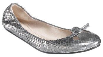 Marc Jacobs #MJ14401 – Silver Snakeskin Flat