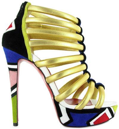 Christian Louboutin Ulona Laminated Multi Straps Sandals: