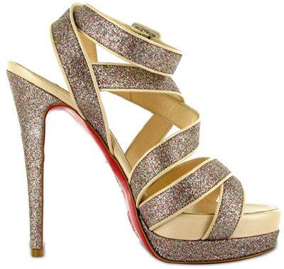 Christian Louboutin Staratata Multi Straps Glitter Sandals:
