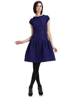 Silk Faille Boatneck Dress