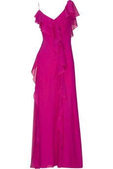 Donna Karan Asymmetric Silk Georgette Gown
