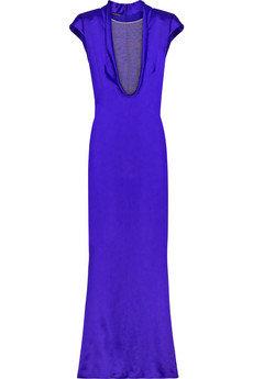 Alexander McQueen Silk Blend Plunge Front Dress