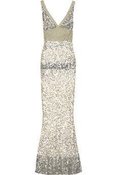 Rachel Gilbert Lyla Sequinned Silk Gown