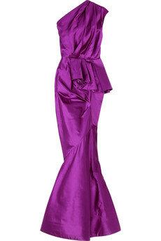 Oscar De La Renta Pleated Duchess Satin Gown