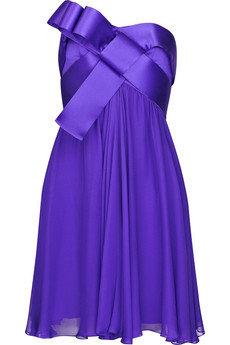 Notte by Marchesa Ribbon Trimmed Silk Chiffon Dress