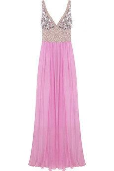 Rachel Gilbert Ashleight Embellished Silk Gown