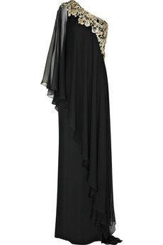 Marchesa Asymmetric Silk Chiffon Gown