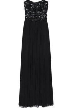Rachel Gilbert Silk Beaded Corset Gown