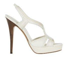 Platform Sandal in White Leather