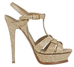 Tribute Platform Sandal in Gold Crackle