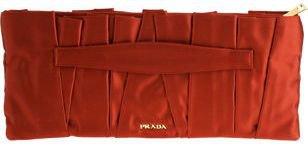 PRADA Raso Pleat Clutch - Red
