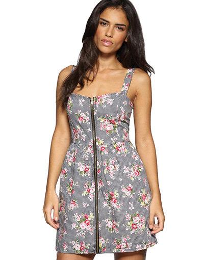 Iska Zip Front Gingham Floral Dress