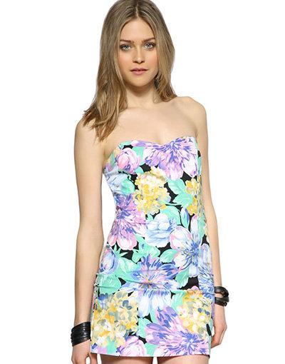 MinkPink Floral Bandeau Dress