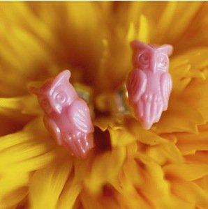 Tiny Vintage Glass Owl Earrings