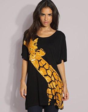 Giraffe Print Oversize Tee Shirt