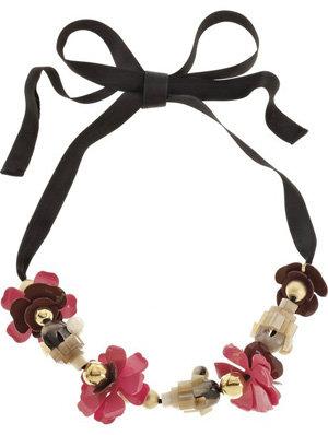 Marni Embellished Ribbon Necklace