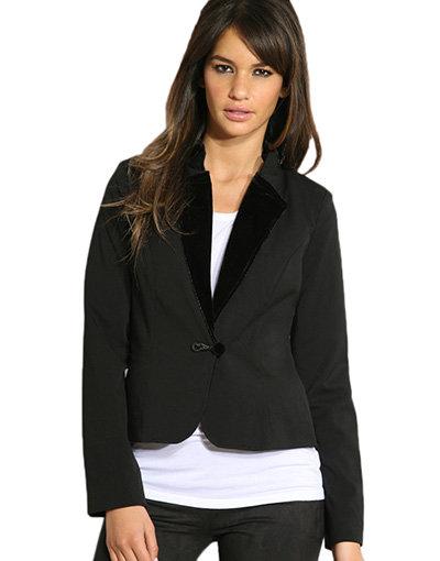Soaked in Luxury Velvet Collar Military Jacket