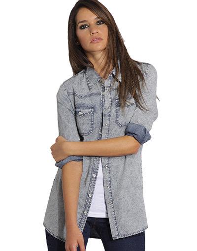 ASOS Blue Marble Denim Western Shirt