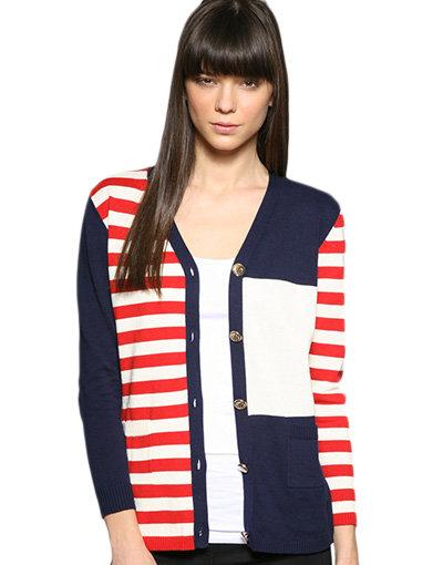 Motel Nautical Patchwork Stripe Cardigan