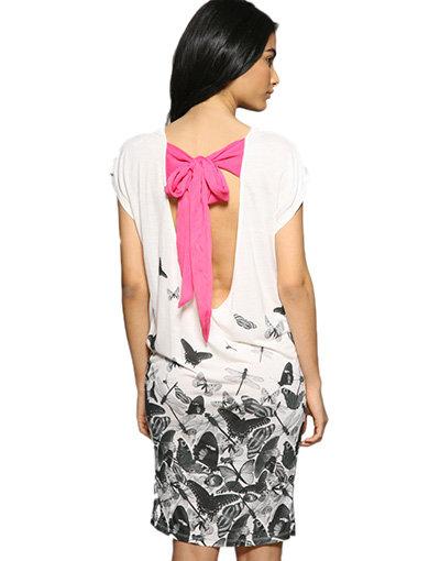 Ribbon Tie Butterfly Print Dress