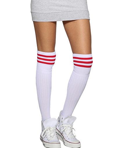 Red Stripe over the Knee Socks