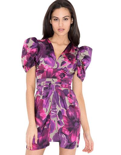 Liquorish Floral Box Sleeve Dress