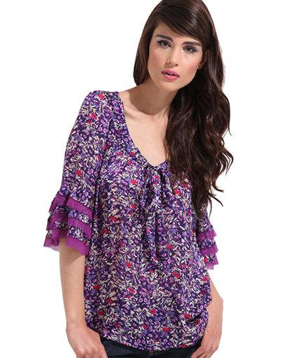 Rebecca Taylor Floral Print Tie Front Blouse