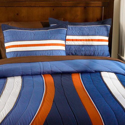 Boys Brown And Orange Bedding: Pottery Barn Teen Steps Beach Quilt Set