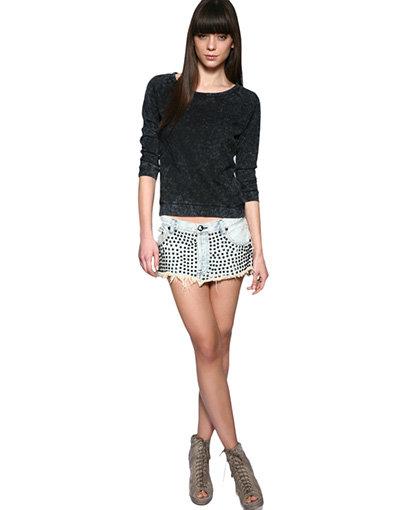 One Teaspoon Studded Denim Skirt