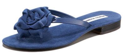 Manolo Blahnik Suede Flower Thong Sandal