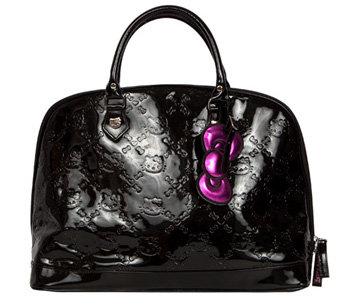 Hello Kitty Large Black Patent Leather Handbag