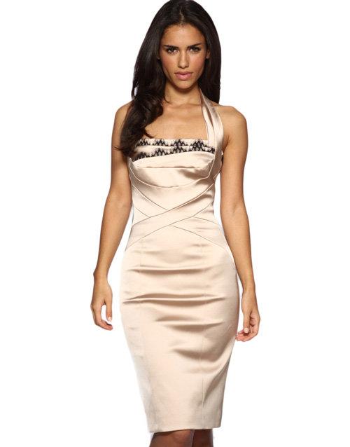 Karen Millen Curvaceous Halter Satin Dress
