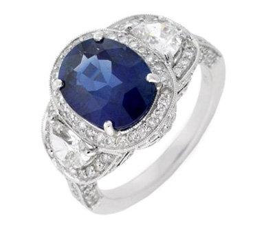 Jewel of Ocean 18k White Gold 4.35 Ctw Oval Sapphire 1.66 Ctw Diamond Ring Sz 6.5