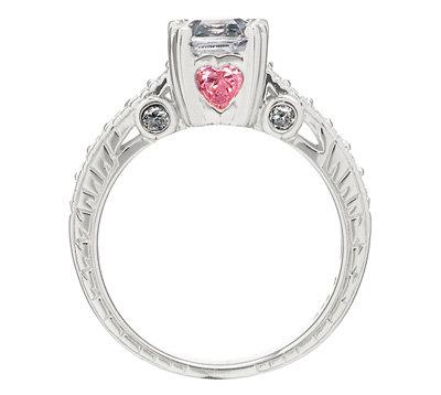Shayla's Engagement Ring - Asscher Cut CZ & Pink Heart CZs