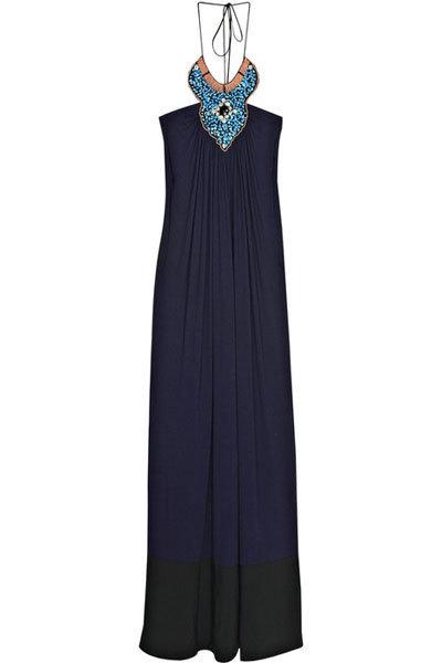 T-Bags Embellished Jersey Halter Dress