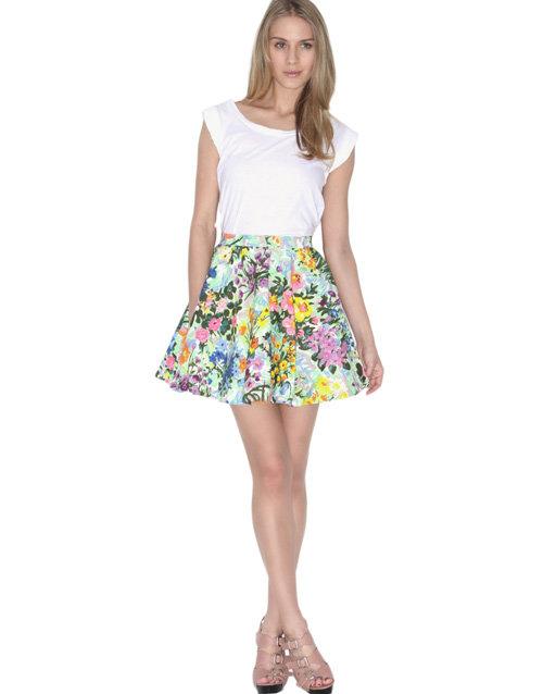 American Retro Garden Print Cotton Skirt