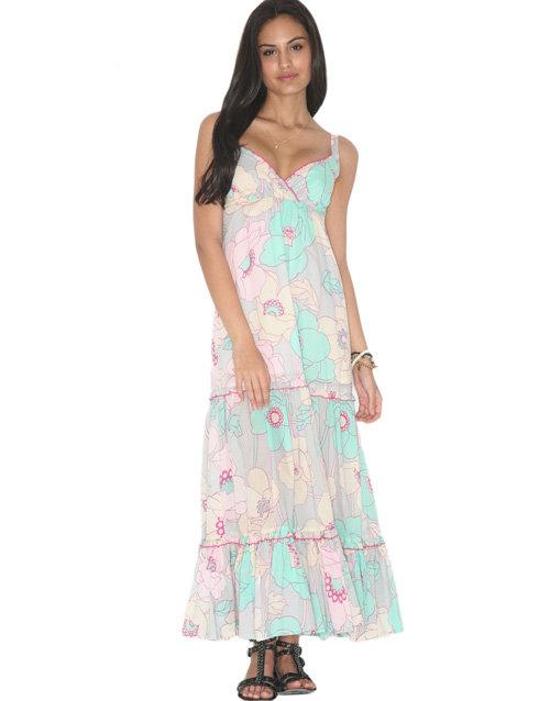 Eucalyptus 70's Retro Style Tiered Maxi Dress