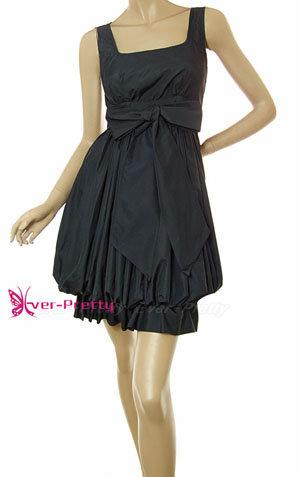 Black Designer Puff Cocktail Dress