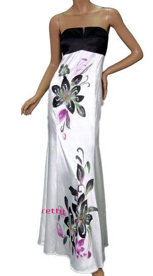 Fab Flower Printed Strapless Evening Dress