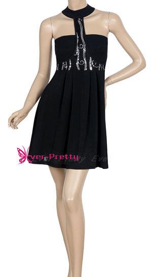Shining Paillette Black Mini Cocktail Dress