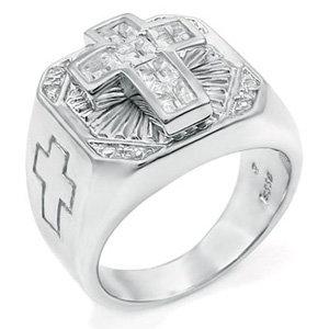 Sterling Silver Ring - Shiny Cross