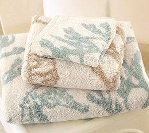 Pottery Barn Seahorse Jacquard Bath Towels