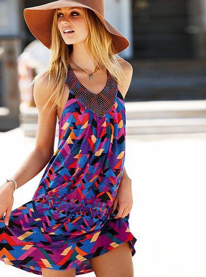 Victoria's Secret Printed Embellished V-neck Bra Top Dress