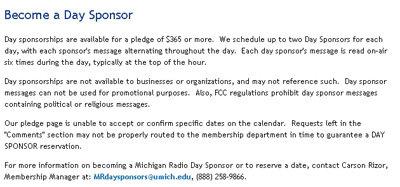 Sponsor a Day on Public Radio