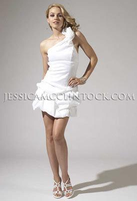 One-shoulder Stretch Taffeta Dress with Rosette